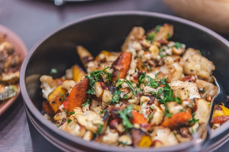roast cauliflower and carrots with hazelnut gremolata