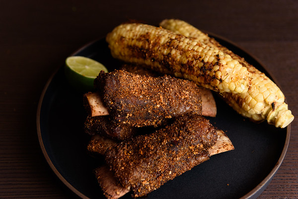 sous vide beef shortrib and roast corn with lime and butter