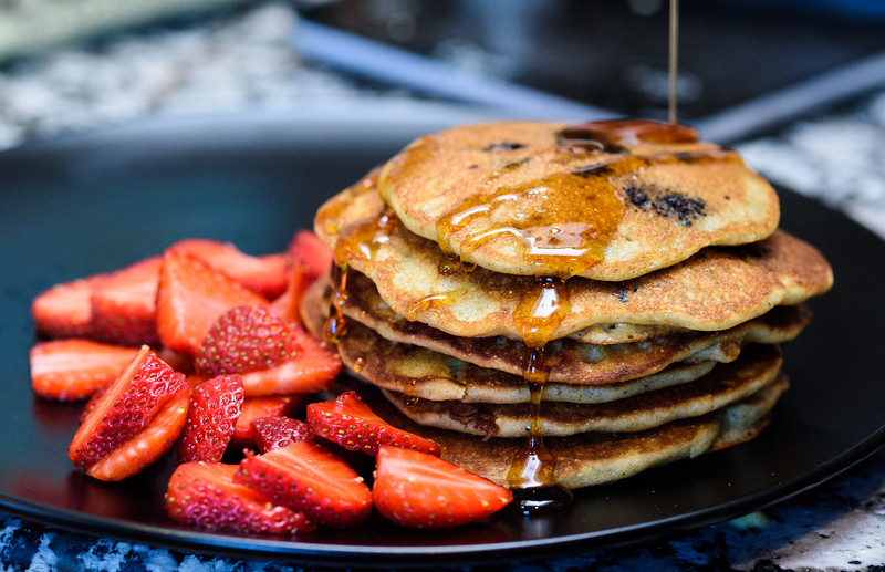 Blueberry whole grain pancakes
