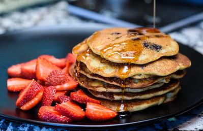 Blueberry whole grain pancakes
