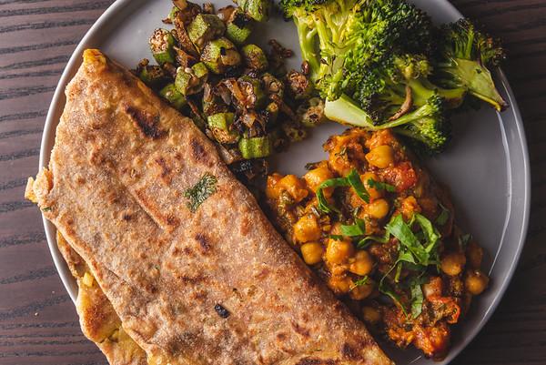 Aloo Paratha, Okra, Channa Masala, Mustard Broccoli