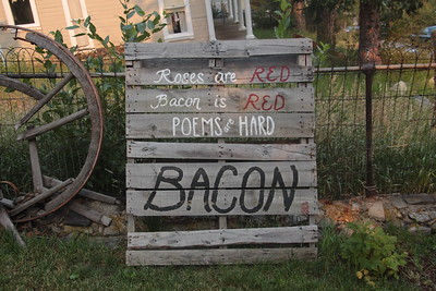 A sign in the yard of our B&B