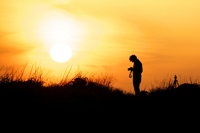 Photographer at Sunset in Santa Cruz. (Selected as one of the featured Google Home Page images, 2010. Over 9 million views as of 2014.)