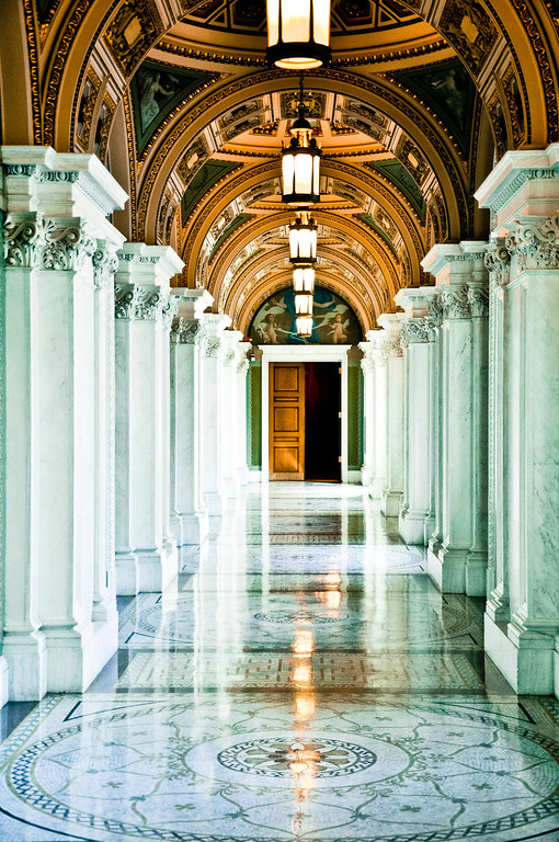Hallway at Library of Congress (color), Washington DC