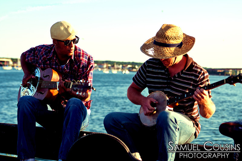Samuel James & D Gross practicing at the end of the pier.