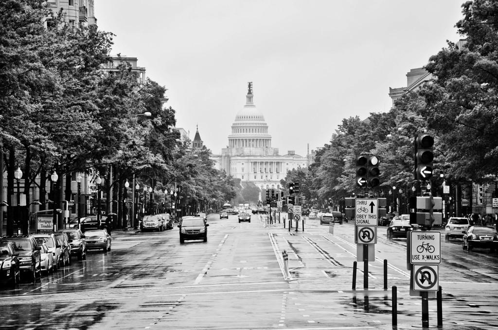U.S. Capitol view down Pennsylvania Avenue, Washington DC