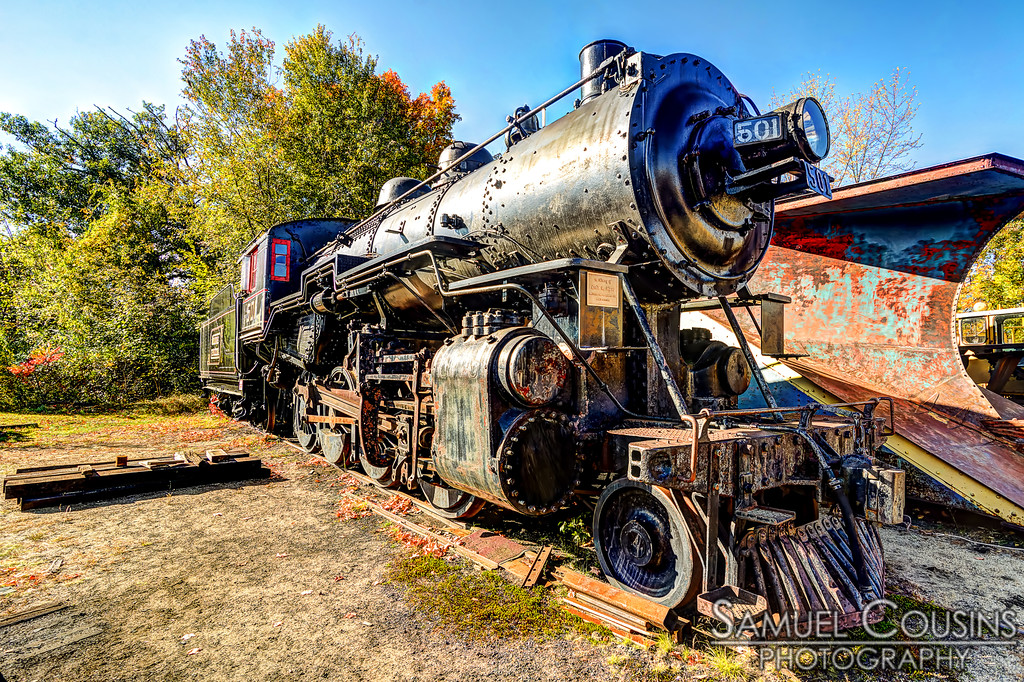 An old steam engine at the Conway Scenic Railroad