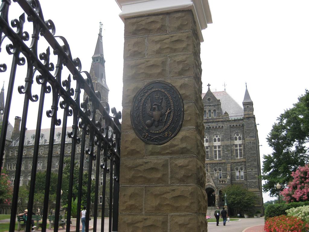 Georgetown University crest at main gate, Washington DC