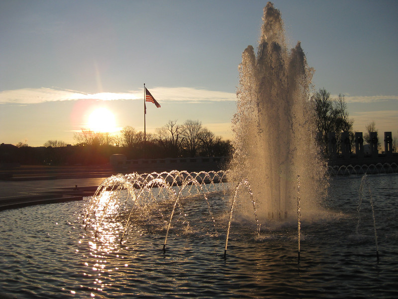 Fountain, World War II Memorial at Sunrise - Washington DC