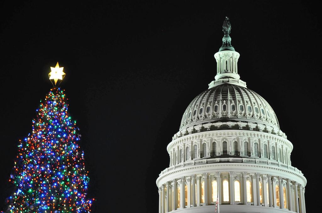 U.S. Capitol during the holidays (closeup), Washington DC