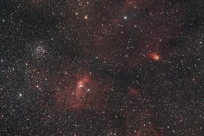 M52, NGC7635 and NGC7538   Cluster, Bubble nebula and Northern Lagoon nebula