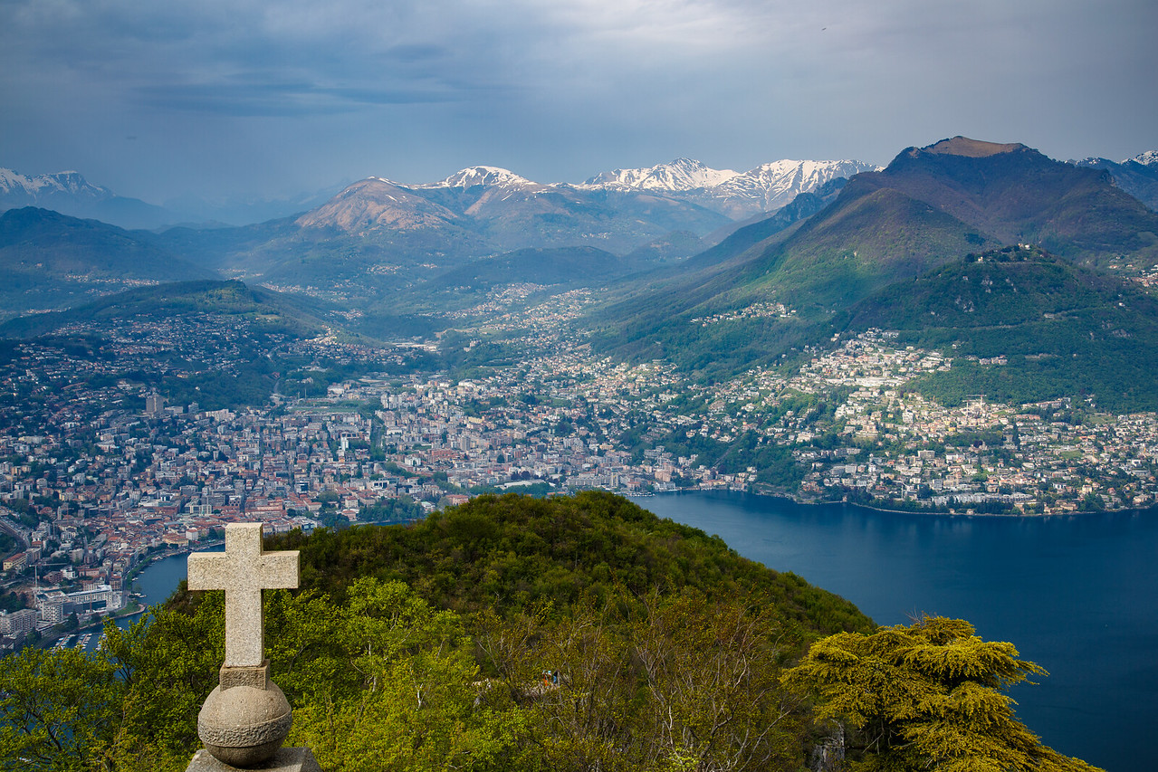 View north over Lugano and the Swiss Alps