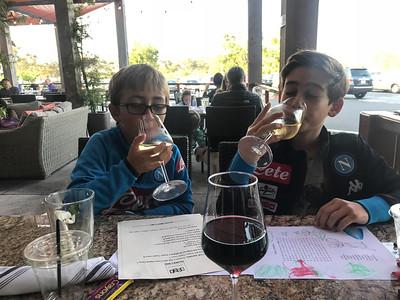 Enjoying a white wine (grape juice...)