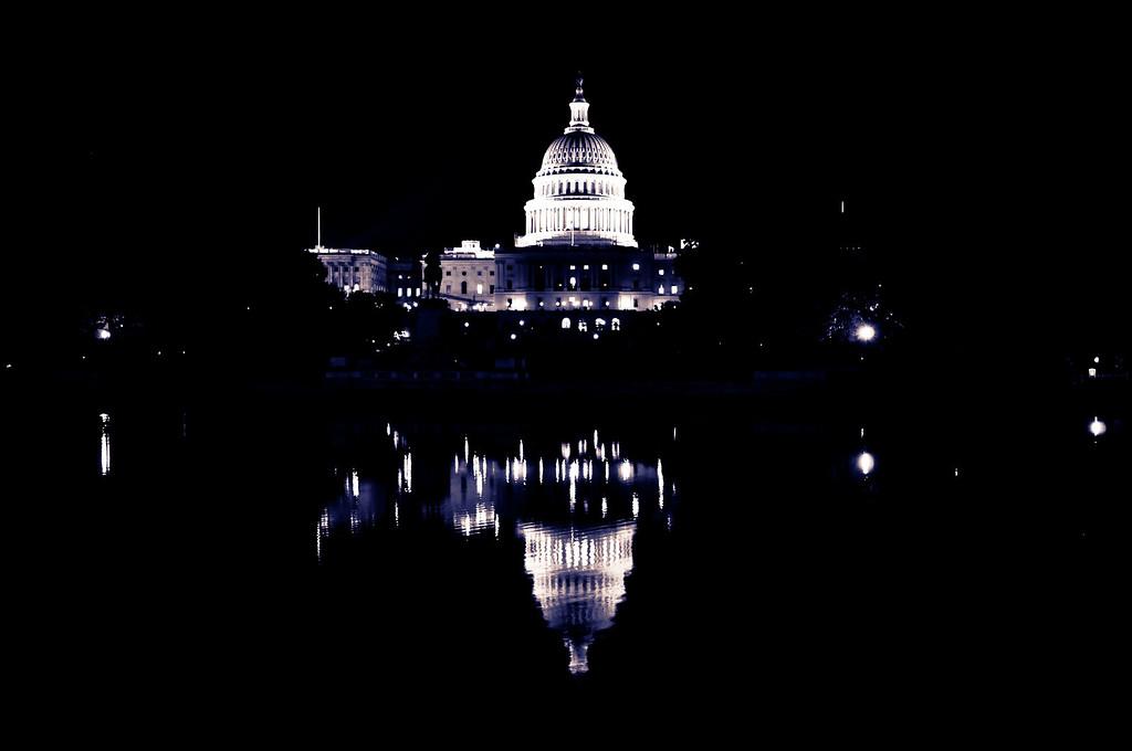 U.S. Capitol at night (b/w) - Washington DC