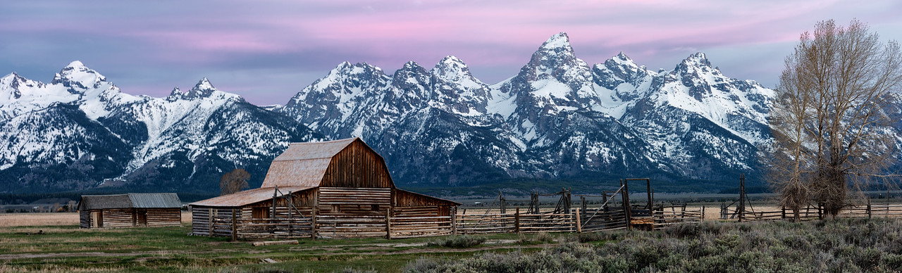 Pano of the Moulton Barn in Jackson Hole Wyoming