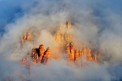A clearing storm reveals the red rocks near Sedona, Arizona