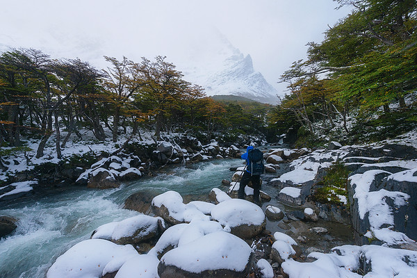 A Snow Storm Rages in the French Valley of Torres Del Paine, Chile