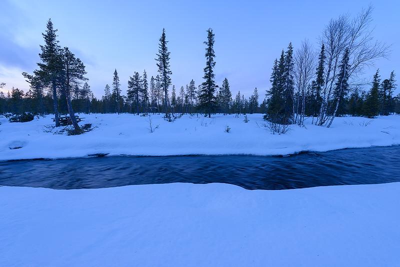 Snow Shoeing Just After Sunset - Near Abisko, Sweden