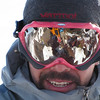 Jan 10th - Alexis Dufour looking down at Metres, Mingus and I at the summit of Mt. Rose on our first backcountry ski day of 2010