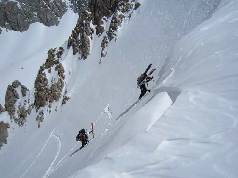 "April 17th - Steve & Bernard booting up a steep pass that we named, ""Are you F-ing kidding me? Pass""  On day 2 of our Sierra Traverse."