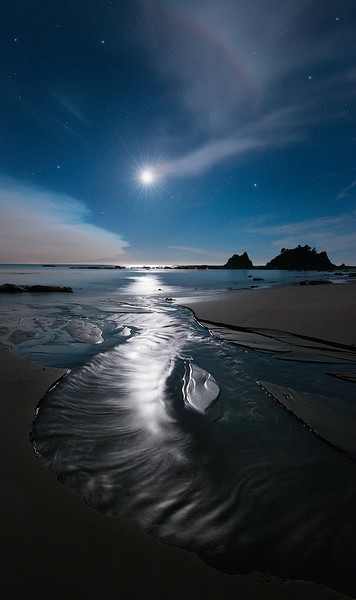 Moonset on the Wild Coast of Washington State