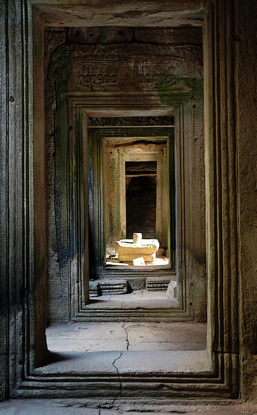 Doorway inside Bayon Temple in Siem Reap Cambodia