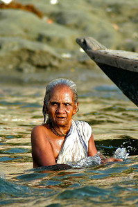 Lady Bathing in the Ganges River, Varanasi India