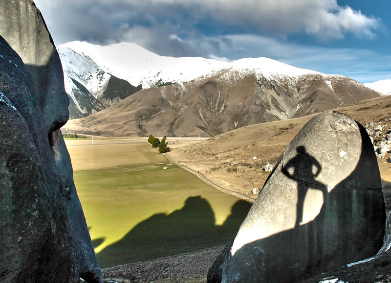 Shadow self portrait, Castle Hill, South Island, New Zealand