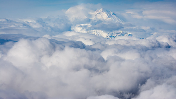 Denali - the Great One   First view from the air - and we are still 30 miles away  Denali National Park and Preserve, Alaska