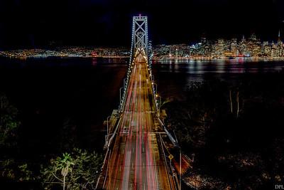 Oakland Bay Bridge from Treasure Island by night