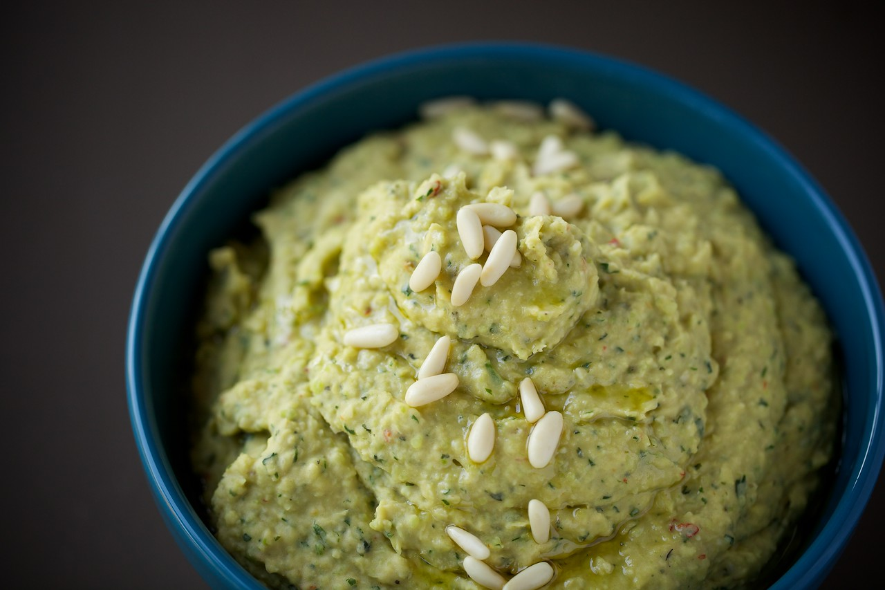 Warm fava-herb dip with pine nuts