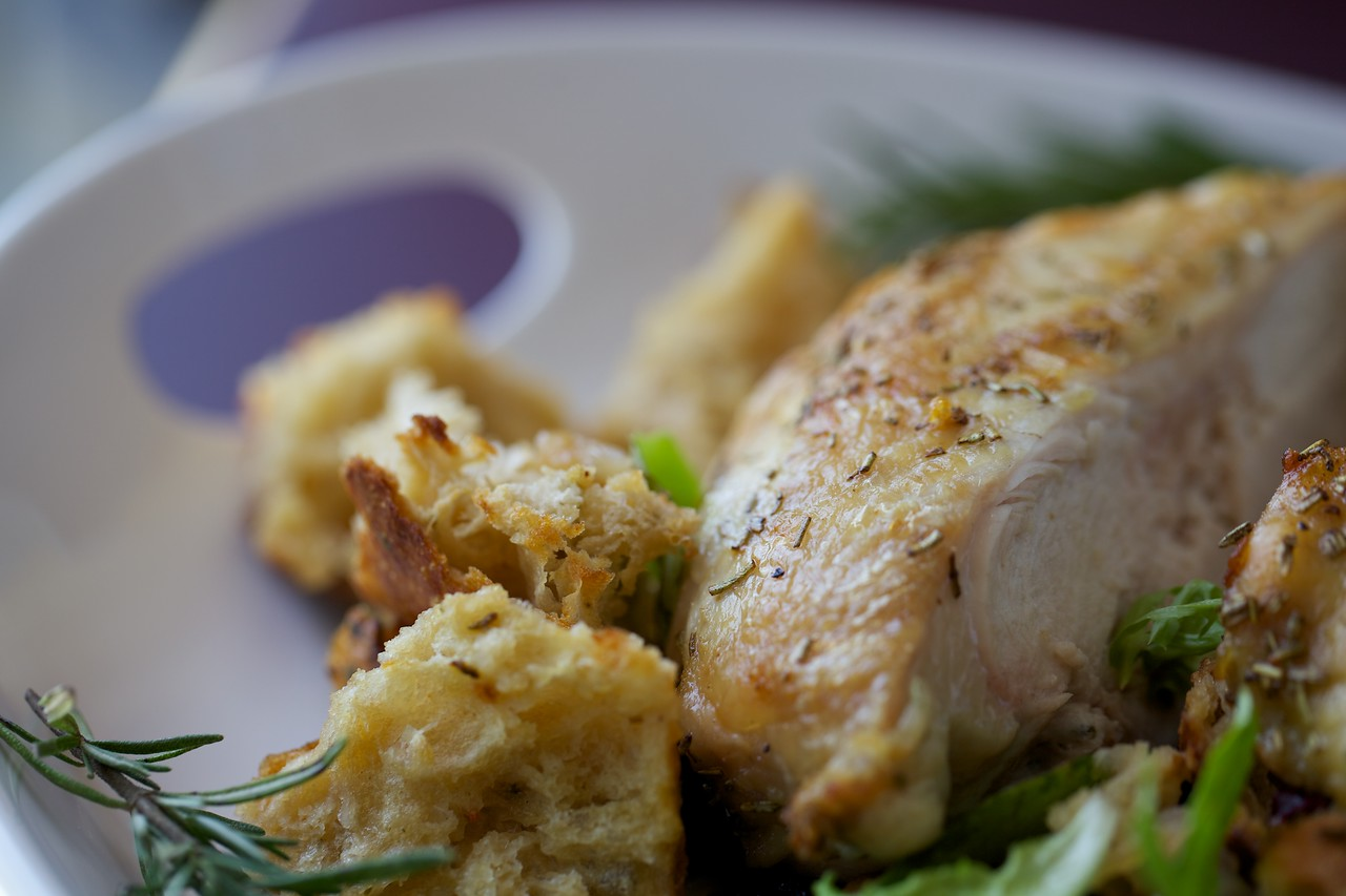 Roasted rosemary chicken and bread salad