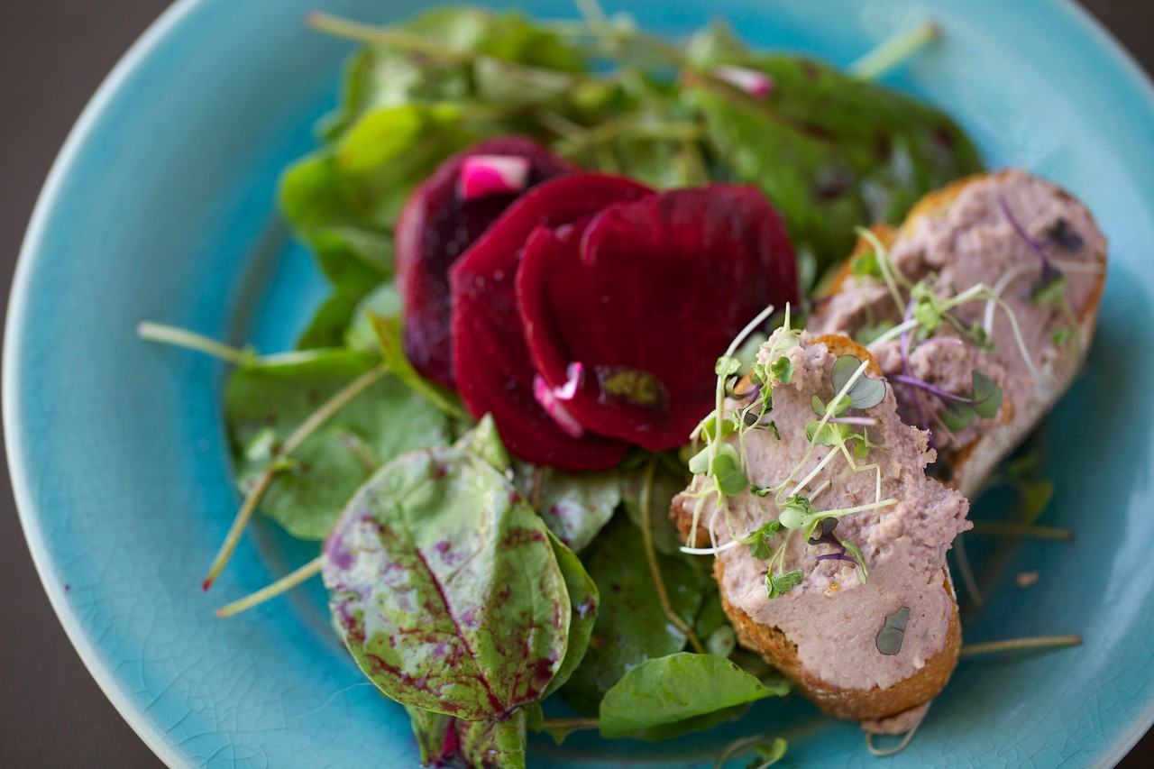 Truffled beets with watercress salad and walnut pate toasts