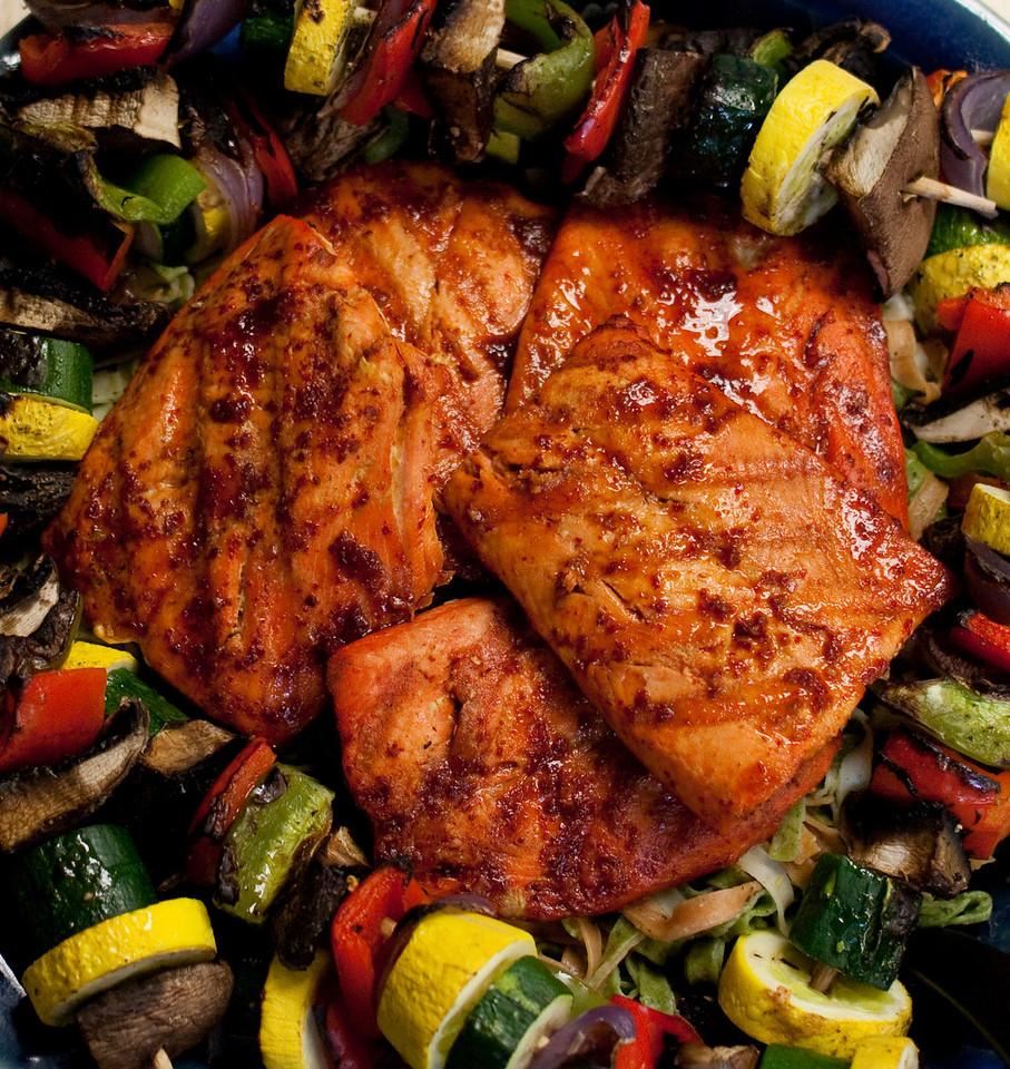 BBQ salmon with veggie kabobs