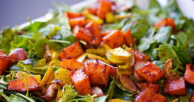 Kabocha squash salad with turnips, beets and harissa-molasses dressing