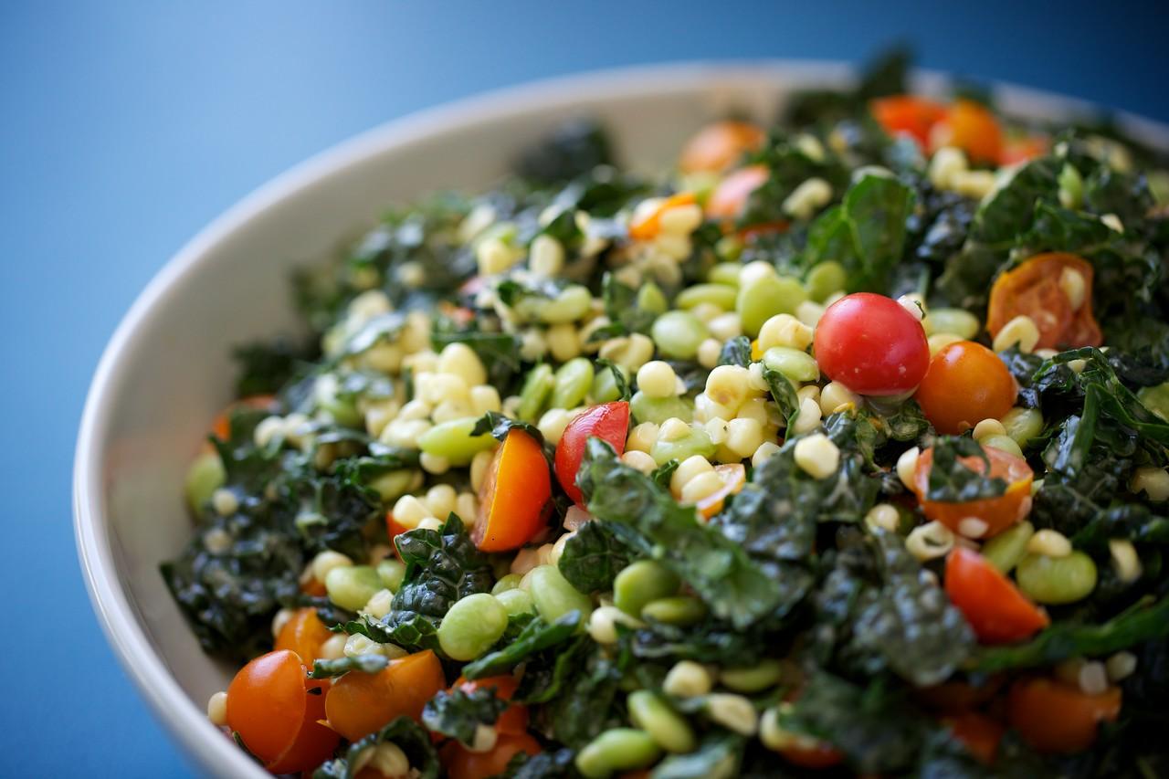 Succotash kale salad