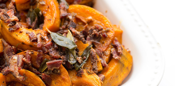 Kabocha squash with five spice lamb bacon and fried sage