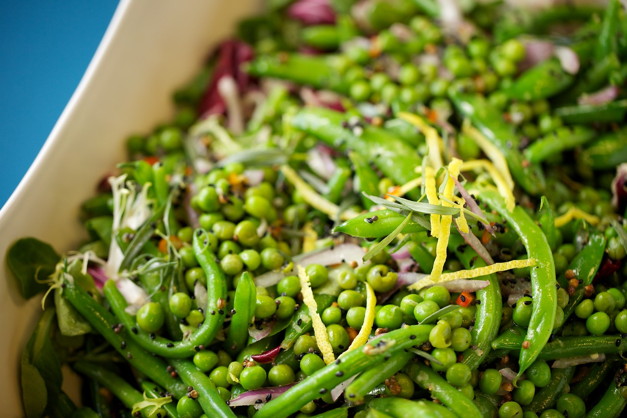 Green beans, peas and snap peas with lemon-mustard seed dressing