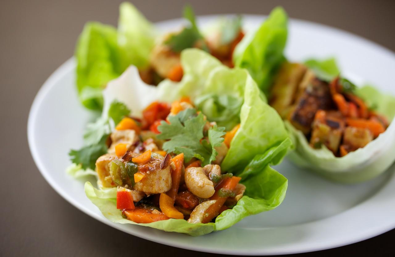 Kung pao tofu lettuce wraps