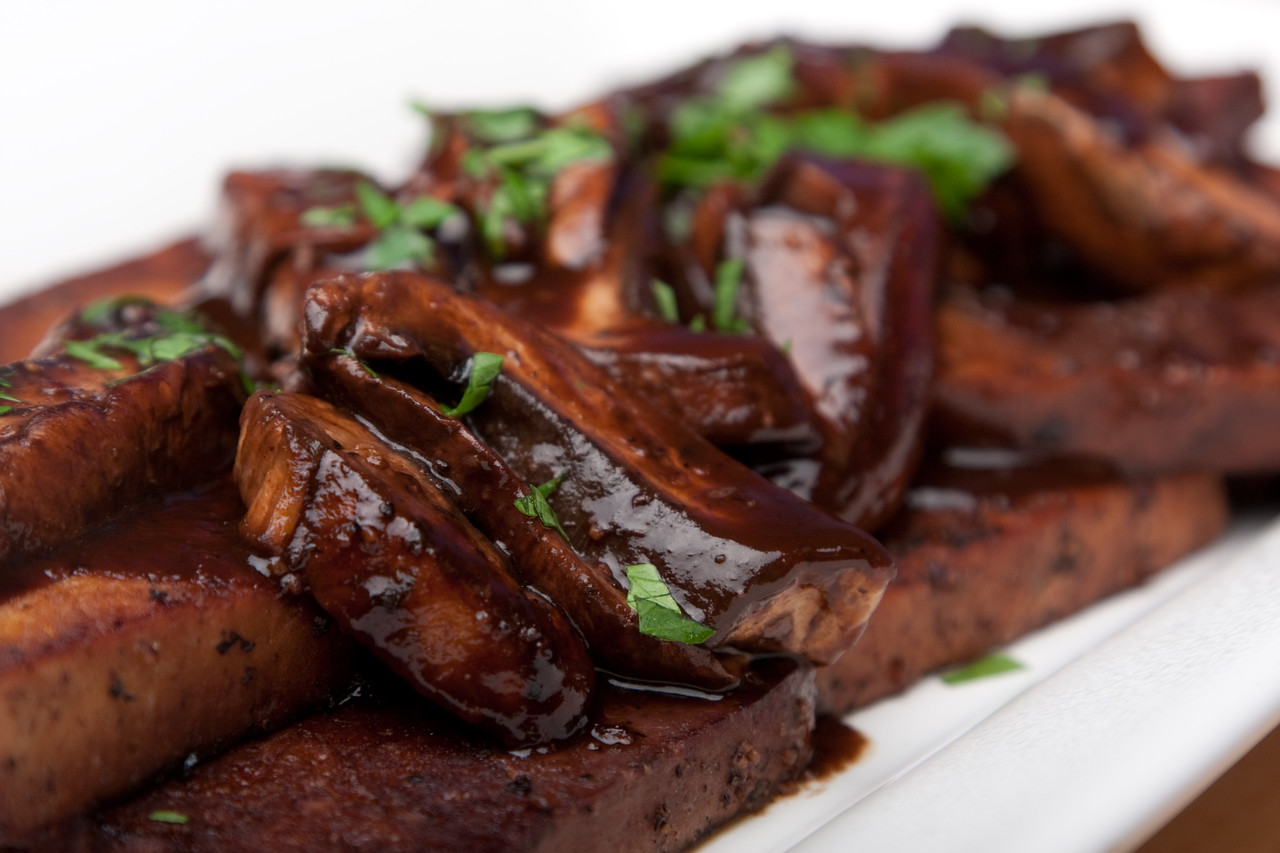 Black pepper and red wine tofu with portobello mushrooms and red wine reduction sauce