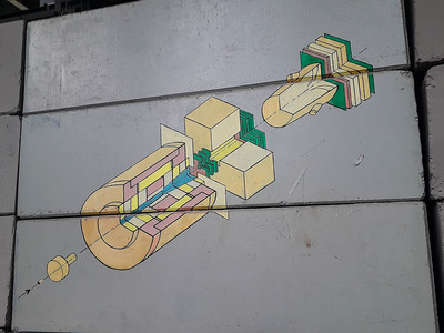 Detailed architectural grafitti
