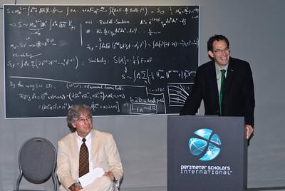 Neil Turok (right), director of the Perimeter Institute and John Berlinsky, head of the PSI program