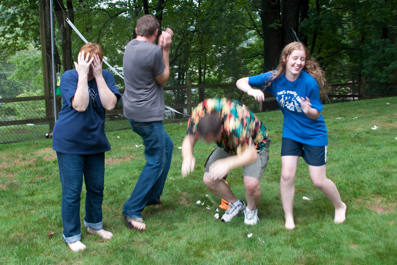 Due to a tie in the water ballon toss, the winner was determined by water ballon firing squad.