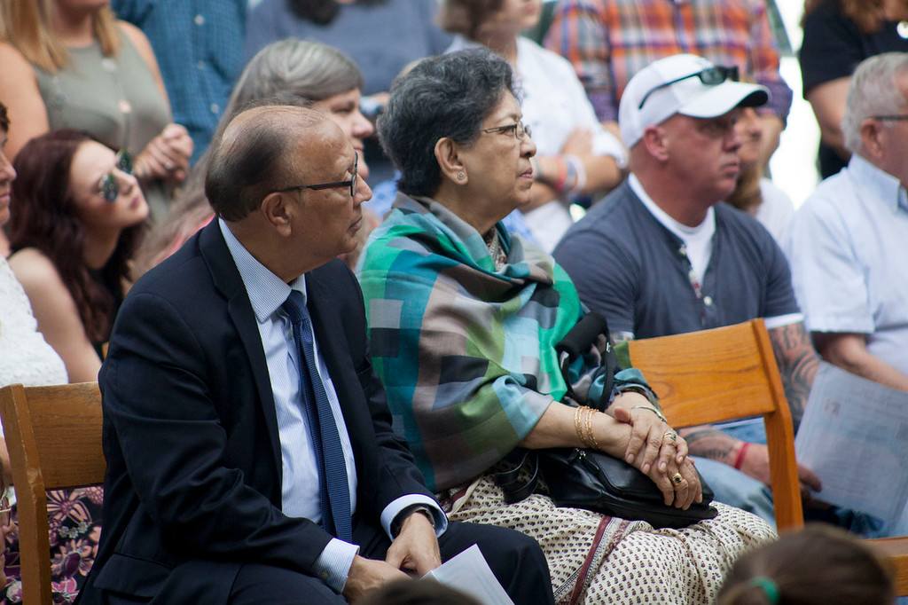". Former United Nations Ambassador and Under-Secretary-General Anwarul Chowdhury (left) looks on during a ceremony in front of the Prescott School marking Wednesday as ""Betsy Sawyer Day.\"" Nashoba Valley Voice/Chris Lisinski"