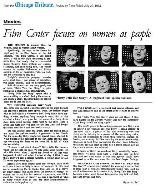 Betty Tells Her Story Chicago Tribune article, Gene Siskel, 1973