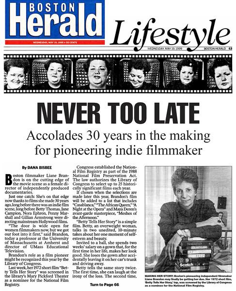 Betty Tells Her Story, Boston Herald, 1