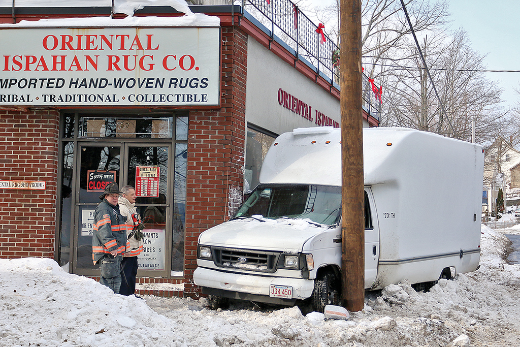 . A small box truck had a minor mishap on Lunenburg Street and got wedged between a brand new telephone pole and Oriental Ispahan Rug Co. on the corner of Lunenbrug Street and Wilmot Street. SENTINEL & ENTERPRISE/JOHN LOVE