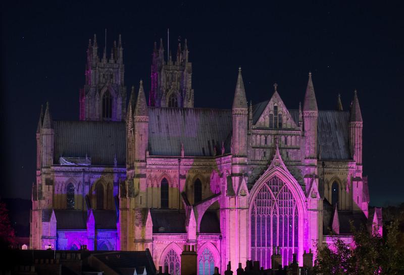 Minster, pancreatic cancer awareness purple
