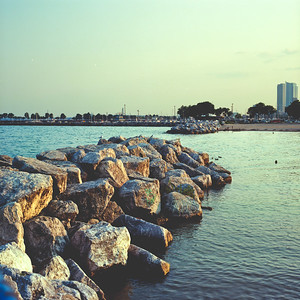 End of Day at the Bay : Milwaukee Cityscape Medium Format Color Film