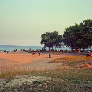 Gathering at Bradford Beach County Park : Milwaukee Cityscape Medium Format Color Film